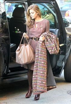 Eva Mendes arriving in NY in vintage look to work on her own affordable vintage clothing line with New York & Company 3-10-13