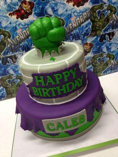 Cake from an Incredible Hulk Themed Birthday Party via Karas
