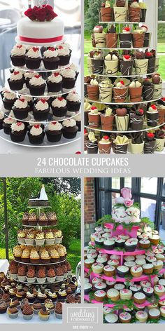 24 Chocolate Wedding Cupcake Ideas You Must See ❤ You could surprise you guests with a delicious chocolate wedding cupcake! See more: http://www.weddingforward.com/chocolate-wedding-cupcake/ #weddings #cupcake