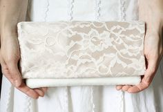 The LENA CLUTCH - Champagne and Ivory Lace Clutch - Wedding Clutch Purse - Bridesmaid Gift Idea on Etsy, $44.00