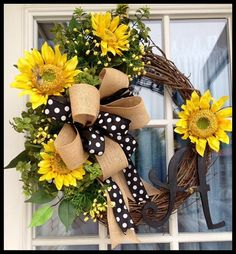 Sunflowers and Polka Dots Monogrammed Wreath. Personalized Summer Wreath Spring Wreath Door Decoration Front Door Wreath with Free Shipping!...