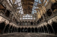The ornate yet relatively unassuming exterior of Antwerp's old Stock Exchange building hides a hidden treasure that has become a holy grail for urban explorers. The spectacular interior hall was constructed during the 19th century to replace an earlier building designed by Domien de Waghemakere, which had burned down in 1858.  Featured in our popular article 5 Pillars of the Abandoned World, the Stock Exchange building off Meir Street in Antwerp was closed in 2003 due to fire regulations.