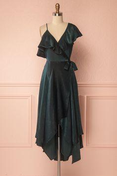 Sheeva Green Satin Ruffled Wrap High-Low Gown   Shop 1861