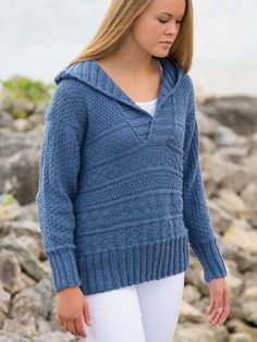 """Knit an attractive hoodie sweater for staying cozy on cool nights! Knit with 5 (6, 6, 7, 8, 9) skeins worsted-weight King Cole Comfort Aran yarn using U.S. size 8/5mm 16"""" and 32"""" circular needles and double point needles."""