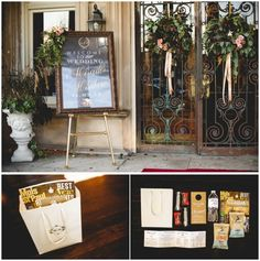 Semple Mansion Weddings #goldfoil #classic #wedding Wreaths on the door. Out of town bags