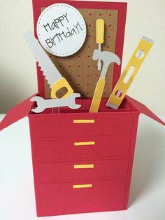 Tool Box Birthday Card in a box. A gift door MessagesAndMemories