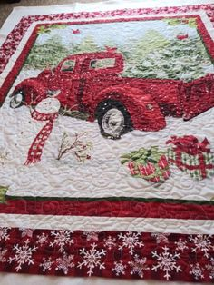 Made by Jan, quilted by Sew Silly Quilting. Christmas Sewing Patterns, Christmas Quilting Projects, Quilting Designs, Quilting Ideas, Cowboy Quilt, Fabric Panel Quilts, Christmas Red Truck, Bright Quilts, Quilt Stitching