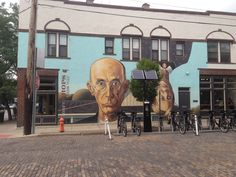 The Short North Arts District: Short North Gothic by Steve Galgas and Mike Altman located at 714 North High Street.  Grant Wood's classic with a twist is an unforgettable landmark in the Short North.