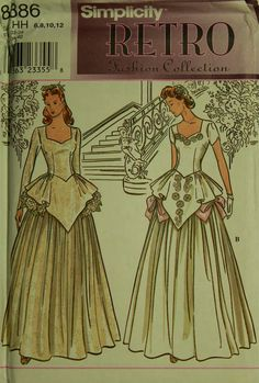 """Gowns, with Peplum - 1940's - Retro Simplicity Pattern 8886  Uncut   Size 6-8-10-12  Bust 30.5-31.5-32.5-34"""""""