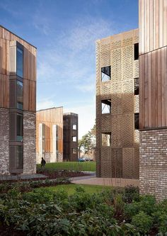 Wienerbeger Brick Award 2014 nominee: The facadesof the Royal Veterinary College are finished in red cedar cladding and the strongly textured Bronsgroen brick. With these materials the buildings reference the existing campus, whose newer buildings are generously clad in timber, while the original older ones are of brickwork masonry. Photographer: Tim Crocker