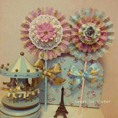 lovely shabby Paper Rosettes, Paper Flowers, Lollipops, Pinwheels, Photo Props, Wedding Decorations, Shabby Chic, Pastel, Room Decor
