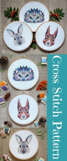 Woodland animals 3 Animals Cross Stitch Patterns - 15 Dollars. Rabbit, Hedgehog and Squirrel Modern Embroidery Patterns. Animals Cross Stitch Charts. Sale #crossstitch #affiliate #cute #crafts #gifts