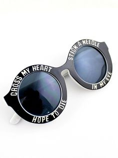 c3a1cfa5dc9f SHEIN offers Black Letters Print Round Sunglasses   more to fit your  fashionable needs.