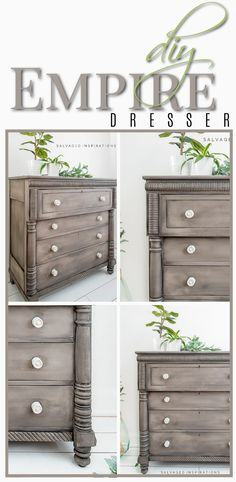 DIY Empire Dresser | How To Get that Perfect Gray Wash with Contrast Light Knobs Look | Salvaged Inspirations #siblog #salvagedinspirations #paintedfurniture #furniturepainting #DIYfurniture #furniturepaintingtutorials #howto #furnitureartist #furnitureflip #salvagedfurniture #furnituremakeover #beforeandafterfurnuture #paintedvintagefurniture #roadsiderescues #chalkpaint #chalkpaintedfurniture #diyprojects #diyfurnituremakeover #furniturerestoration #furnitureideas #bohoinspired Salvaged Furniture, Furniture Refinishing, Chalk Paint Furniture, Furniture Restoration, Furniture Makeover, Vintage Furniture, Furniture Ideas, Grey Stain, Grey Wash