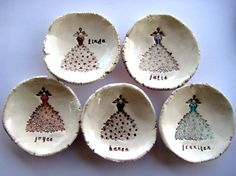 Bridesmaid Gift Dishes Set of Five 5 No. 20 by thebrickkiln, $60.00