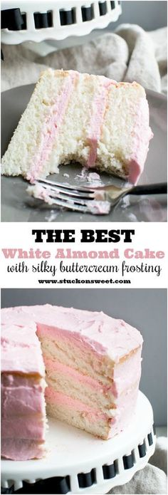 (Includes white cake mix)The BEST White Almond Cake recipe out there. I've made this a ton and it turns out every time! Frosted with the silkiest buttercream frosting out there! A great wedding cake and can be made into cupcakes! Food Cakes, Cupcake Cakes, Rose Cupcake, Baby Cakes, Mini Cakes, Cup Cakes, Just Desserts, Delicious Desserts, Baking Desserts