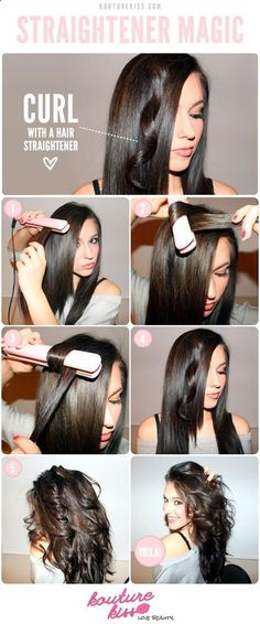How to curl your hair with a flat iron. I do mine a little different but the flat iron works awesome for big wavy curls.
