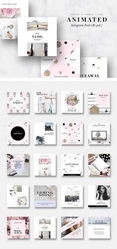 ANIMATED Instagram Posts-Pink & Gold by CreativeFolks on @creativemarket