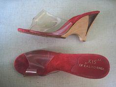 RARE RED 1950s lucite heels / 60s lucite heels by Flipsville, $50.00