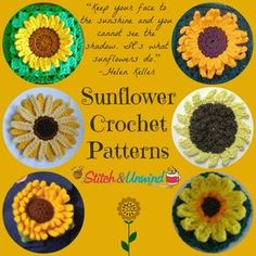 Six simple crochet sunflower patterns. These simple flowers are great for adding accents to current projects.