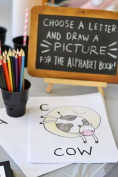 Baby shower ideas. Choose a letter and draw an item to represent it and then take all the papers and make an alphabet book for your baby to learn with