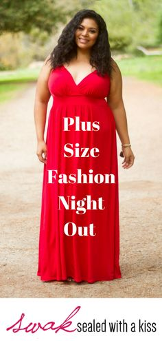 Plus Size Fashion Night Out. A classic spaghetti strap plus size maxi dress is perfect for every occasion. A fitted top and flowing skirt make this red figure-flattering plus size maxi dress perfect for day and night. Plus Size Clothing Stores, Plus Size Womens Clothing, Plus Size Fashion, Plus Size Maxi Dresses, Plus Size Outfits, Fashion Jobs, Dress Fashion, Plus Size Formal, Stylish Plus