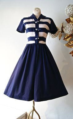50s Dress / Vintage 1950s Sailor Dress With Navy by xtabayvintage, $98.00