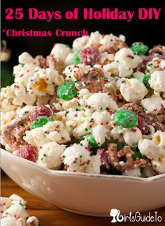 Christmas Crunch Ingredients: 1/2 cup popping popcorn kernels, or 2 bags tender white popcorn 1 (12 oz) bag Vanilla Candy Melts (such as Wilton Candy Melts) 1 1/3 cups broken pretzel pieces 1 (12 oz) bag green and red Milk Chocolate or Mint M Red, green and white Sprinkles (I used Jingle Mix Nonpareils) Check more at http://hrenoten.com