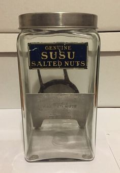 Antique Genuine Susu Salted Nuts Country Store Glass Counter Jar w Original Lid   eBay
