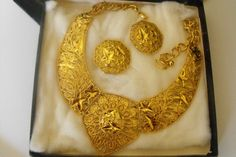 Jose Maria Barrera/Spanish Style Demi Parure 24Kt. Gold plated Vintage by FancySchmancyJewels on Etsy, $85.00