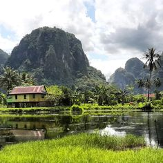 Karst clifs surrounding Berua Village. This is the 2nd largest karst site in the world after one in China.