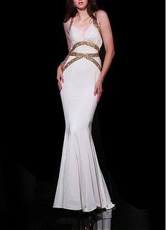 Mermaid Halter Neckline Long Prom Dress