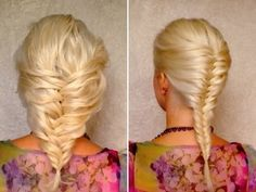 French fishtail braid tutorial for medium and long hair tutorial.  Watch her style her own hair in 2:30 mins. by marcy