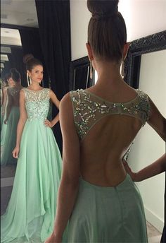 #long prom dresses #open back prom dresses #women's prom dresses #mint green prom dresses #dresses for women #elegant prom dresses
