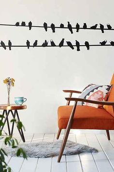 Walls Need Love Black Birds On A Wire Decal - Urban Outfitters