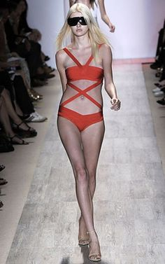 4b733191bedef Is enticing textures make an unforgettable impression with this dramatic Herve  Leger swimsuit. Herve Leger swimsuit keep accessories simple for a look  that ...