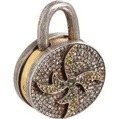 Sevan Bicakci White, Brown & Green Diamond Circle Lock at Barneys.com