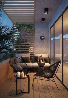 House Design, Balcony Decor, Outdoor Spaces, Outdoor Space, Porch Lighting, Terrace Garden Design, Diy Patio, Home Decor, Relaxing Patio