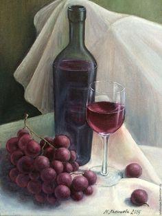 Натюрморт ручной работы. Ярмарка Мастеров - ручная работа. Купить Голландский натюрморт маслом Вино и виноград. Handmade.…
