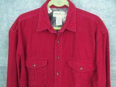 """Eddie Bauer Red Flannel Shirt L Lrg Tall LT 52"""" Chest Long Sleeves 2 Pockets #EddieBauer #ButtonFront"""