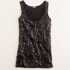 "J. Crew Sequin Tank Size medium J. Crew tank with sequins on one side and comfortable black fabric on other side.  100% cotton.  Natural fraying throughout edges of neck and arm lines.  Lying flat, measures approximately 17"" from pit to pit and 25.75"" from top to bottom.  Wore once.  No trades. J. Crew Tops Tank Tops"