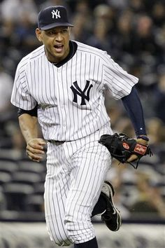 GAME 44: Wednesday, May 23, 2012 - New York Yankees third baseman Alex Rodriguez reacts after completing the throw to first for an out on Kansas City Royals' Humberto Quintero's ninth-inning ground out with a runner on third in the Yankees' 8-3 win in their baseball game at Yankee Stadium in New York. (AP Photo/Kathy Willens)