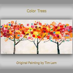 """Modern Art Tree Painting Original impasto 48"""" MULTI colors landscape painting acrylic painting on gallery canvas by tim lam on Etsy, $379.00"""