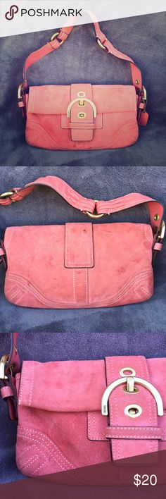 Coach small coral suede purse Authentic Coach bag. We'll loved condition (see pics). Suede Coral/peachy color exterior. Gold hardware. Buckle detail is really cute. Interior in good condition, one small pen mark. 10x6x1.5 Coach Bags Shoulder Bags