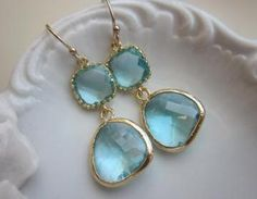 Aquamarine Earrings Gold Two Tier Blue Earrings - Bridesmaid Earrings Wedding EarringsThe aquamarine gems are 13mm with 5mm at the thickest part. The square blocks are 9mm with 3mm thickness. The earw..