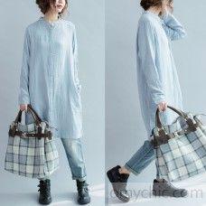 Vintage light blue cotton dresses oversize shift dress womens long sleeve cotton shirt