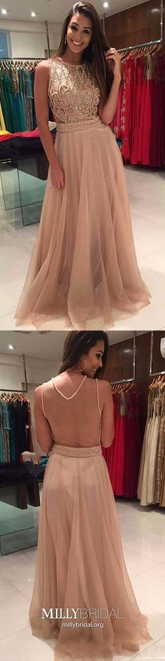 Long Prom Dresses A Line, Champagne Formal Evening Dresses For Teens, Modest Military Ball Dresses Tulle, Gorgeous Wedding Party Dresses Beading #MillyBridal #champagnedress #alinedress #teensdresses