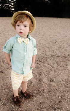 this little boy is so friggin cute! Beach Boy Shorts and Bow Tie Set. $12.00, via Etsy.