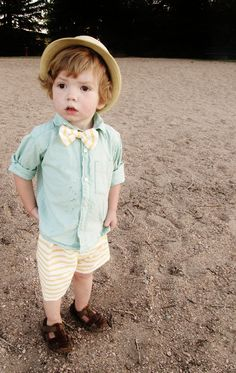 this little boy is so friggin cute! Beach Boy Shorts and Bow Tie Set. $12.00, via Etsy.