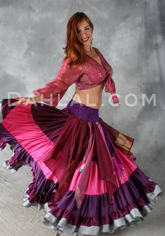 Dahlal Internationale Store - MULTI-COLORED, SARI HANDKERCHIEF OVERSKIRT WITH SMOCKED HIPS, for Belly Dance, $45.00 (http://www.dahlal.com/multi-colored-sari-handkerchief-overskirt-with-smocked-hips-for-belly-dance/)